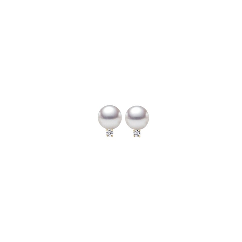 9mm Pearl and Diamond Studs