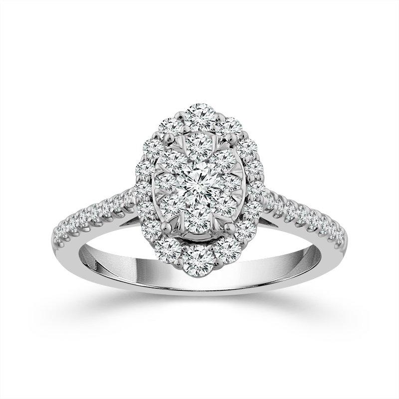 14 Karat White Gold Oval Shaped Diamond Ring With Diamond Halo