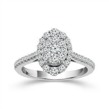 14 Karat White Gold Oval Shaped Diamond Ring With Diamond Halo