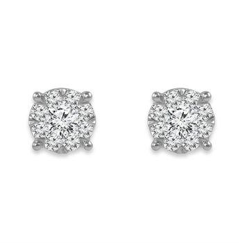 """Harmony Collection"" Diamond Cluster Stud Earrings"