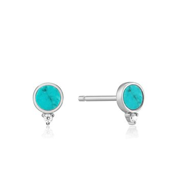 White Sterling Silver Hidden Gem Turquoise Studs Earrings
