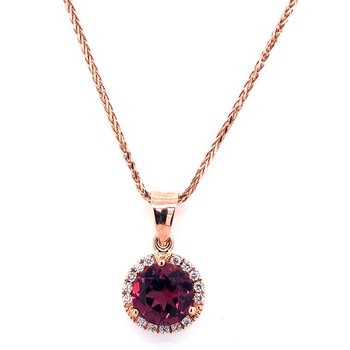 14 kt Rose Gold Pendant with Hot Red Garnet and Diamonds