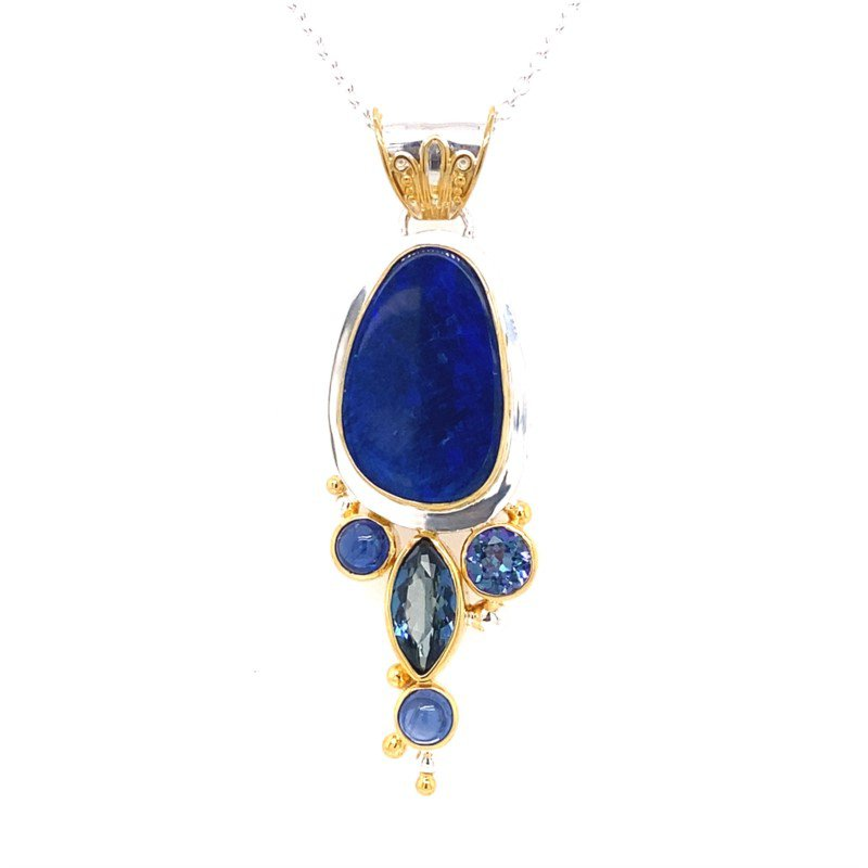 Enchanting Free Form Pendant With Kyanite, London Blue Topaz, Opal and Trendy Solo Topaz