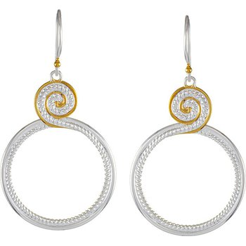 Sterling Silver Swirl Design Drop Earrings