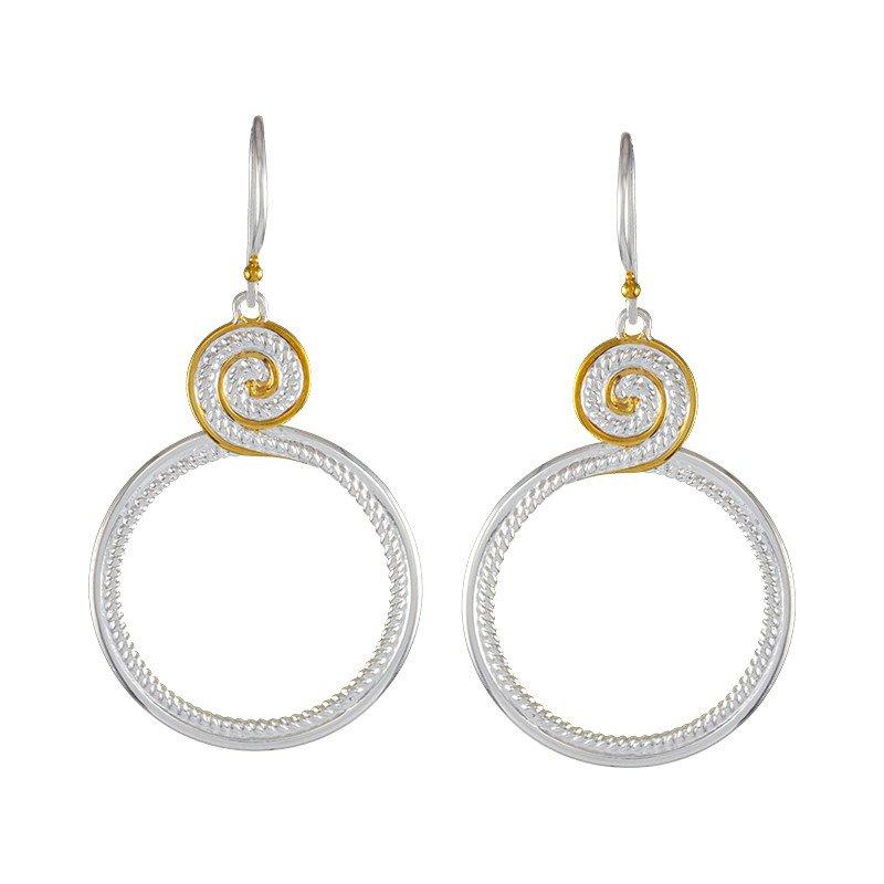 Sterling Silver Swirl Design Drop Earrings