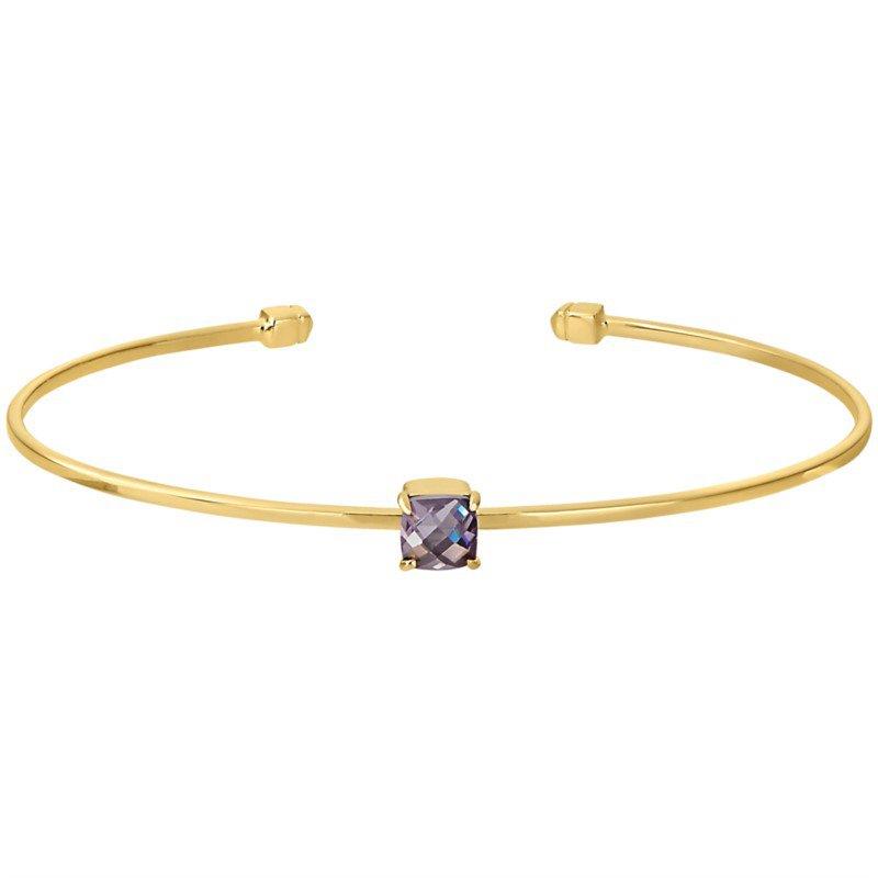 Sterling Silver Yellow Flex Bracelet Set With Purple Crystal