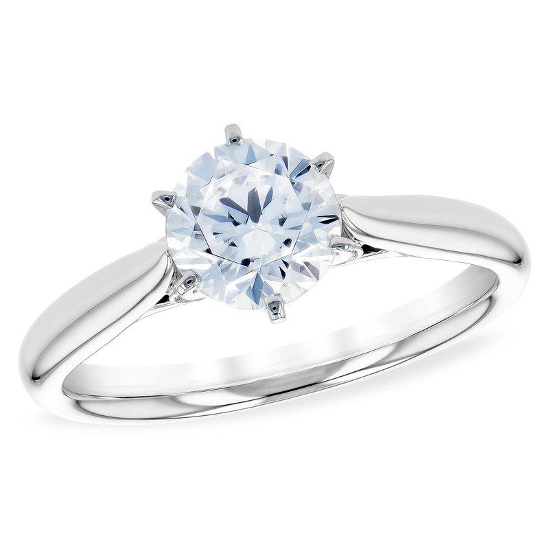 White 14 Karat Semi Mount Ring Size 7 With 4=0.04Tw Round Diamonds
