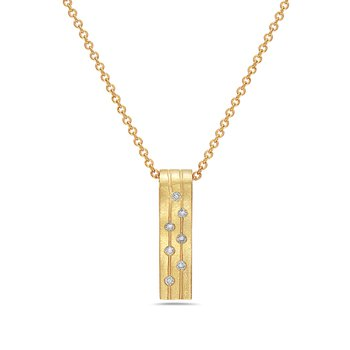 14k yellow gold bar pendant set with 7=.17 tcw diamonds