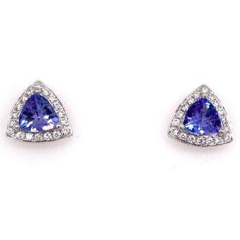 Diamond Halo earrings with Tanzinite