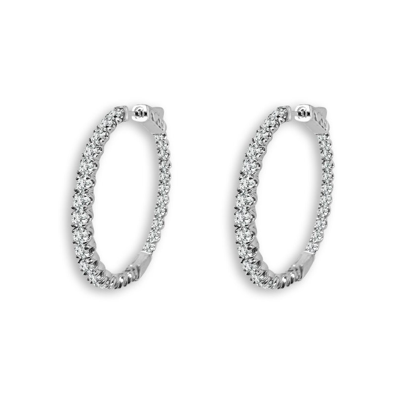 "White Gold ""In/Out"" Diamond Hoops"
