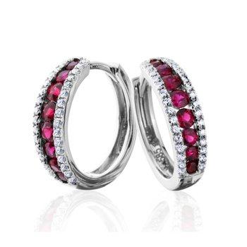 Sleek Diamond and Ruby Hoop Earrings