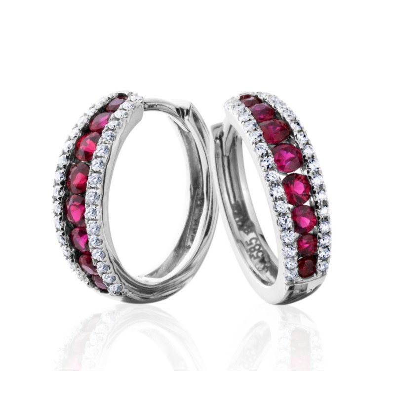 Sleek Diamond and Ruby Hoop Earrings