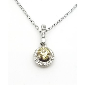 18 Karat Natural Yellow Color Diamond with White Diamond Halo Pendant