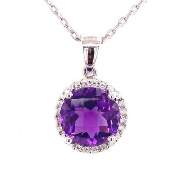 14 Karat Amethyst and Diamond Halo Pendant