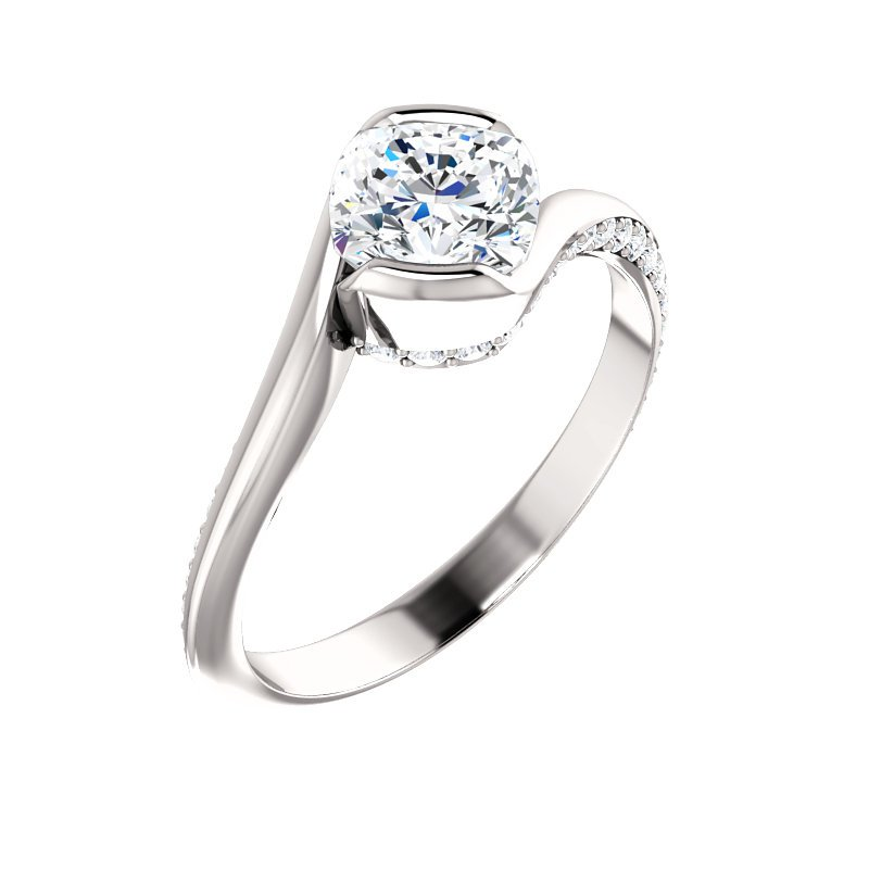 White 14 Karat Bypass Partial Bezel Ring With Diamonds Set On Side Of Ring