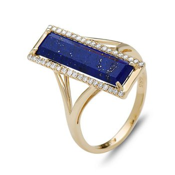 14 kt Yellow Gold Lapis and Diamond Geometric Ring