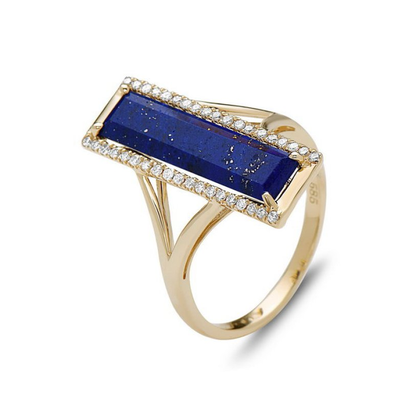 14 kt Yellow Gold Lapis and Diamond Geometric Ring