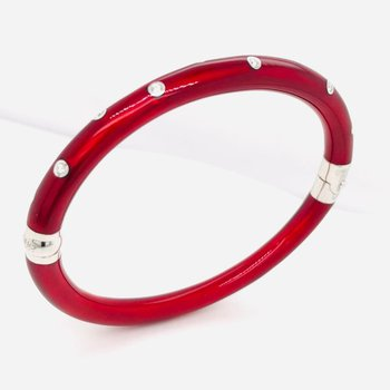 Sterling Silver Red Enamel Bangle Bracelet with Diamonds