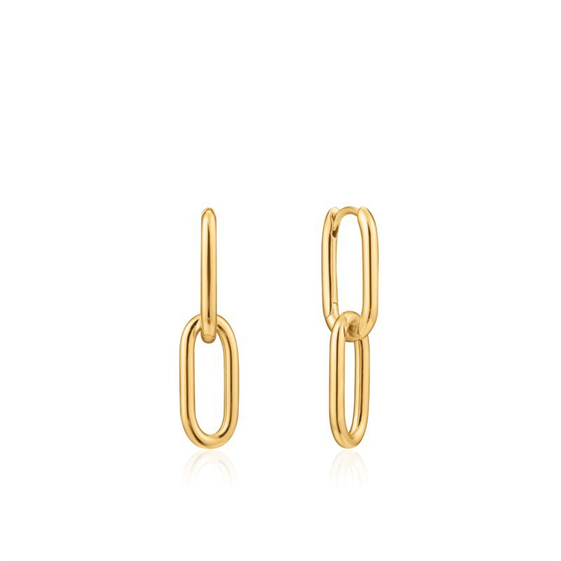 Yellow Sterling Silver Chain Reaction Cable Link Earrings