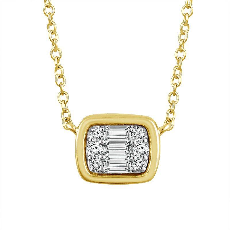 14 Karat Yellow Gold Baguette Diamond Pendant