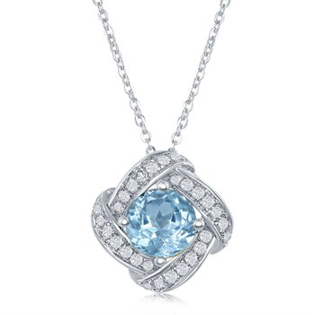 Sterling Silver Knot Inspired Pendant Set with Blue and White Topaz