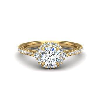 14 Karat Halo With Round Diamond Center Ring With 36= Round Diamonds