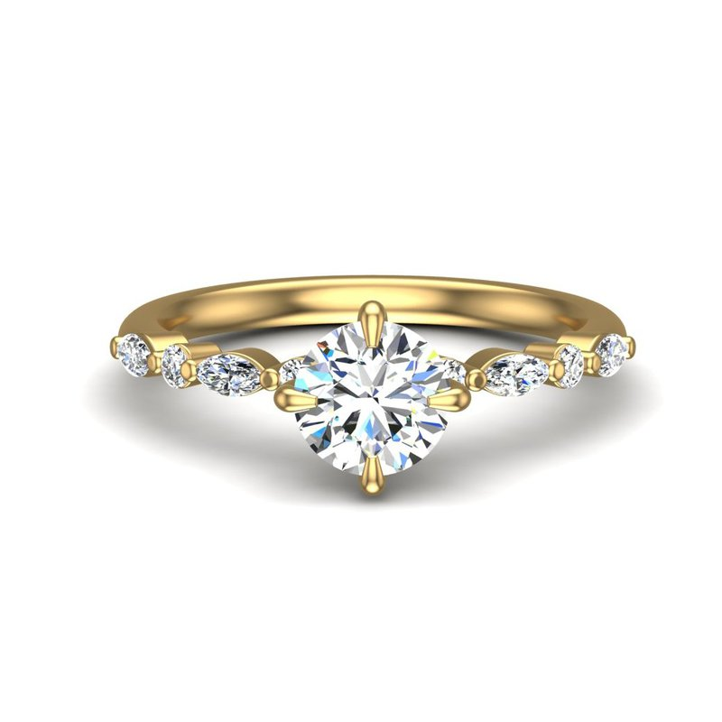 14 Karat Marquise And Round Alternating Ring Mounting