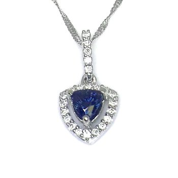 Sparkling Sapphire and Diamond Pendant