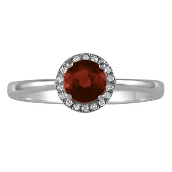 Petite Garnet and Diamond Halo Ring