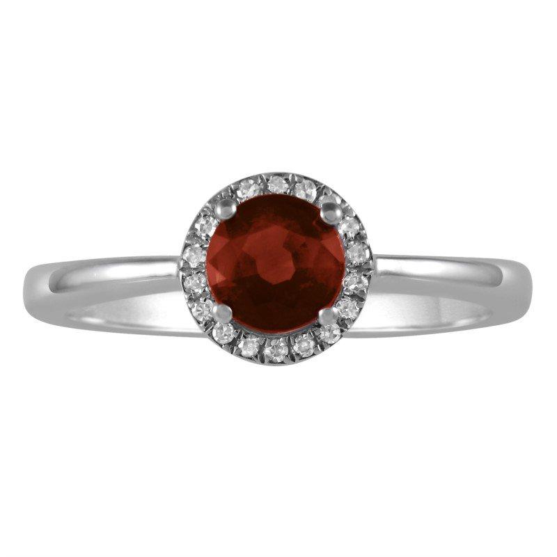 Petite Garnet and Diamond Halo Ring