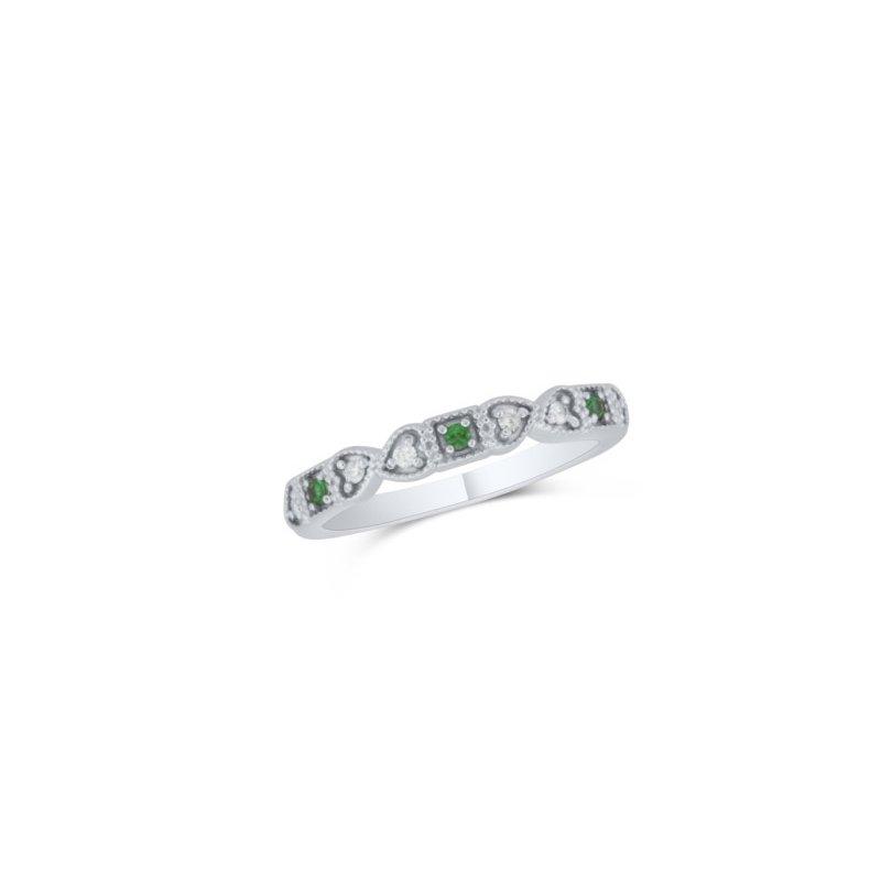 10 Karat White Gold Diamond and Emerald Band