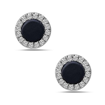 Onyx and Diamond Stud Earrings