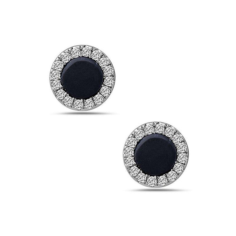 Onyx and Diamond Stud Earrings