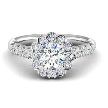 14 Karat Scalloped Halo Ring Mounting of Round  Diamonds