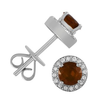 5 mm Garnet Stud Earrings With Diamond Halo