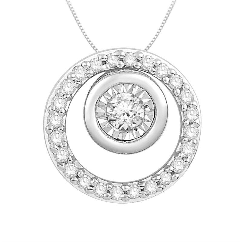 10 Karat White Gold Double Circle Diamond Pendant