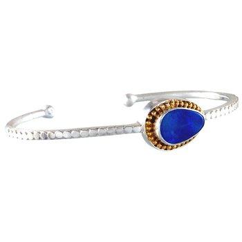 Stunning Sterling Silver Opal Bangle Bracelet
