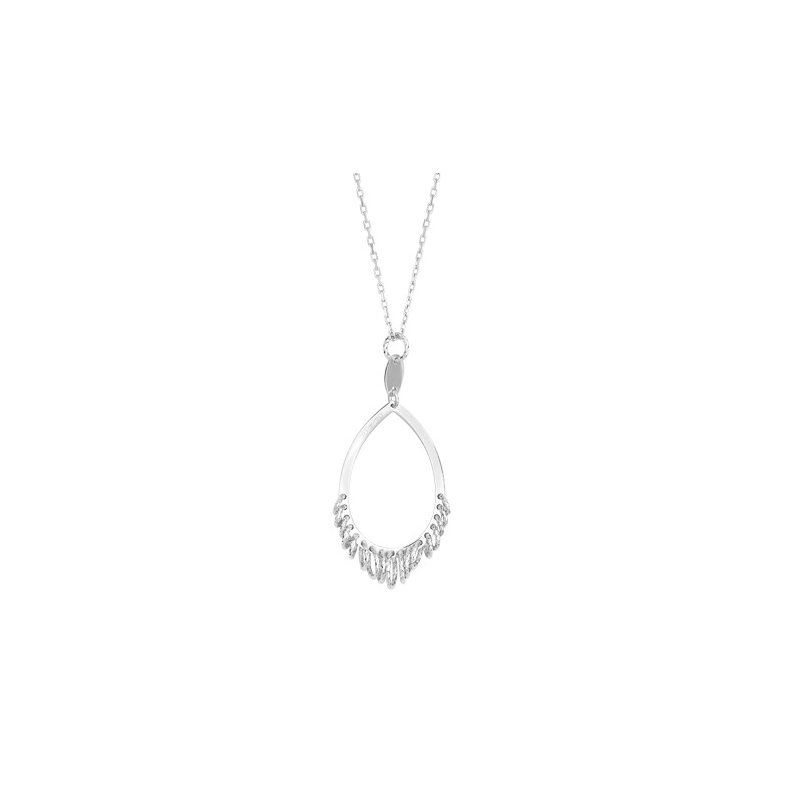 Sterling Silver Open Pear Graduated Circles Pendant