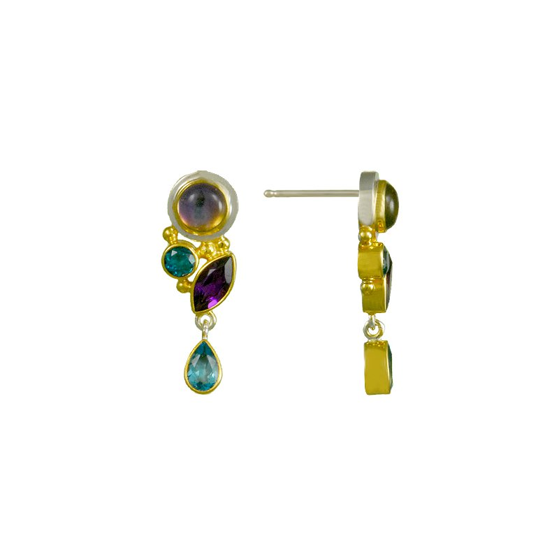 White And Yellow Sterling Silver Drop Earrings Gem: topaz,amethyst,quartz