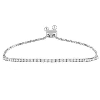 14 Karat Bolo Bracelet With 44=1.50Tw Round Diamonds adjustable length