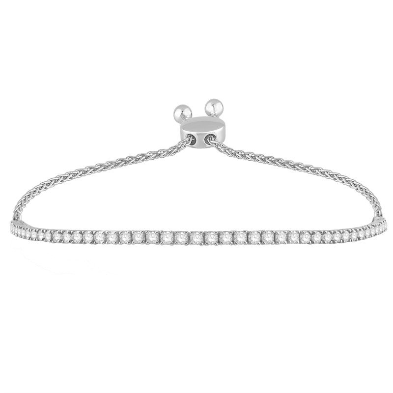 14 Karat Bolo Bracelet With 44=1.50Tw Round Diamonds adjustable length