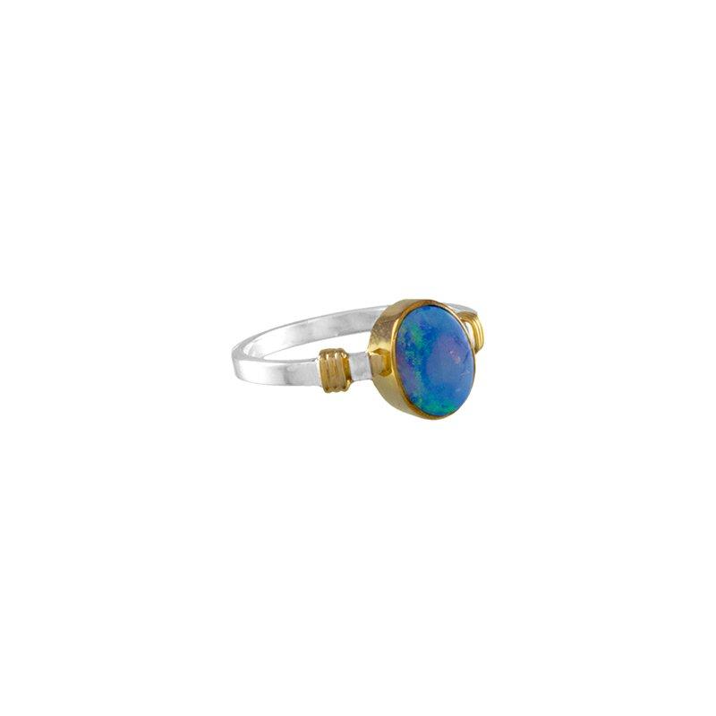 Sterling Silver and 22 Karat Vermeil Opal Ring