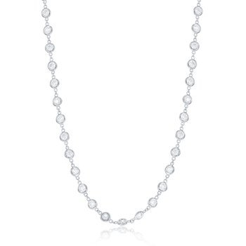 "24"" White 14 Karat Bezel Diamond Necklace With 81=3.56Tw Round G/H Si Diamonds"