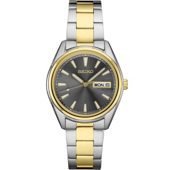 Ladies Two Tone Seiko Quartz Watch with Black Dial