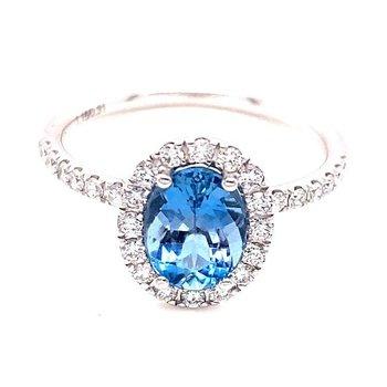 White Gold Aquamarine and Diamond Halo Ring