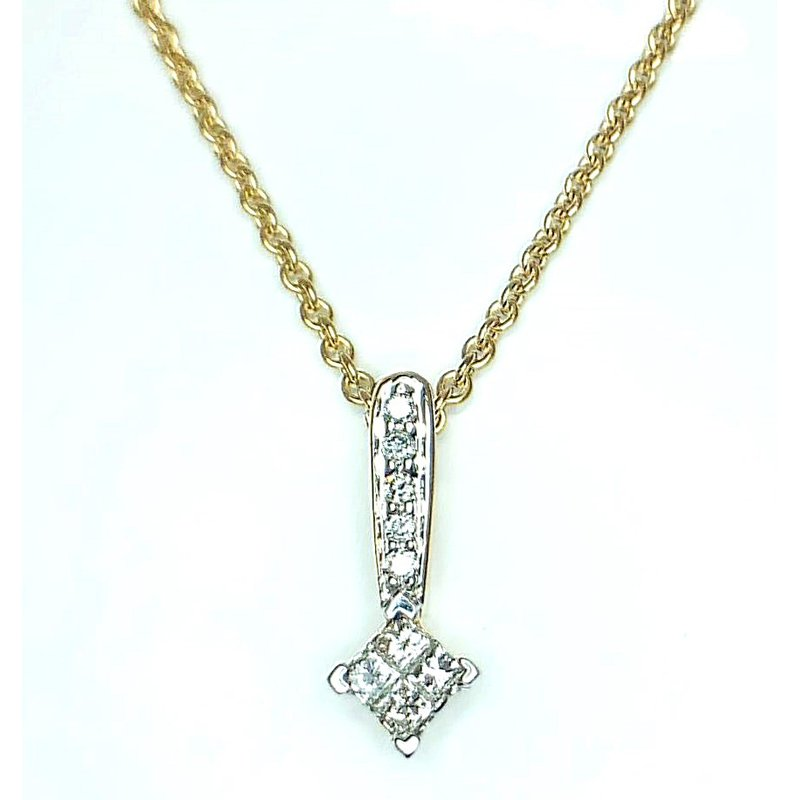 14kt Yellow Gold Pendant with Invisible set  Princess Diamonds and Rounds