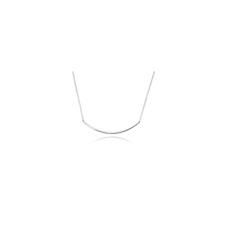 Sterling Silver Half Curved Bar Necklace