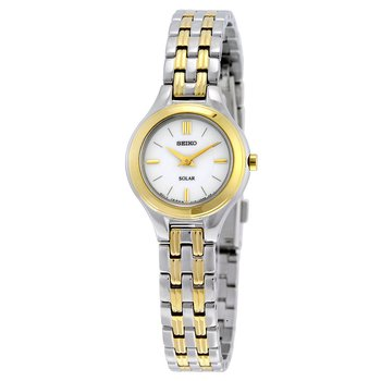 Ladies White and Yellow Solar Seiko Watch