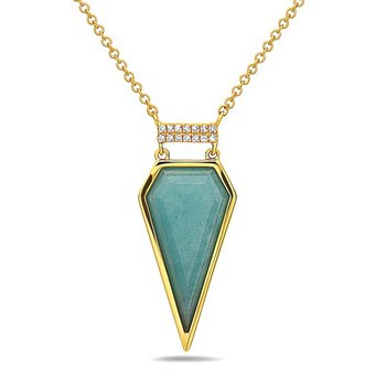 14 kt Gold Pendant with Unusual Amazonite and Diamonds