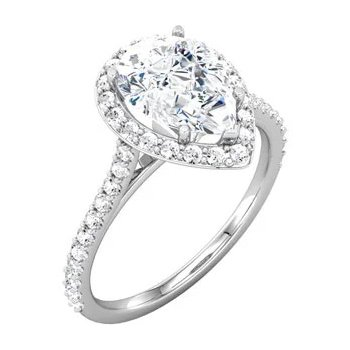 Elegant Pear Shaped Diamond set with a Halo of Round Diamonds